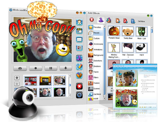 WebcamMax 7 - webcam video,webcam chat,webcam effect,webcam screen, webcam record, webcam pict - Add thousands of cool effects to webcam video for live video chats or recording.